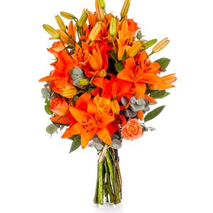 Orange Lilies and Roses