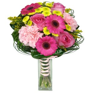 Roses, mini Gerberas and Carnations