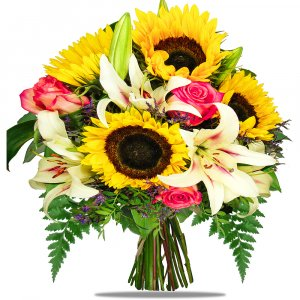 Sunflowers and Stargazer Lilies