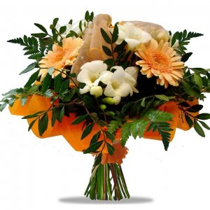 White Freesias and mini Gerberas