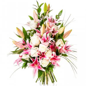 Pink Lilies and White Roses