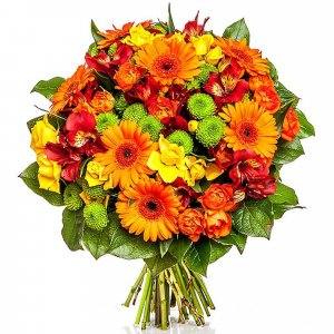 Cheerful Gerberas, Lilies and Roses