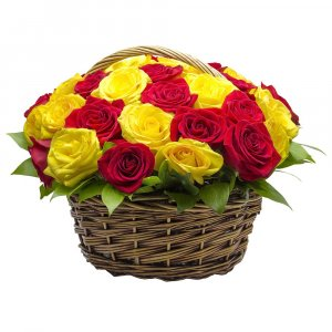 25 Yellow and Red Roses basket