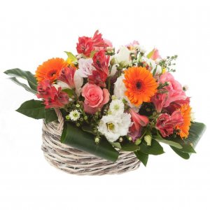 Coloured flowers Basket