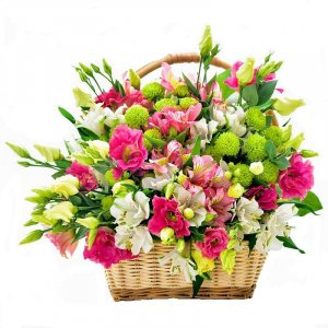 Peruvian Lilies and Alstromerias Basket
