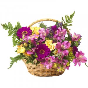 Roses and Peruvian lilies basket