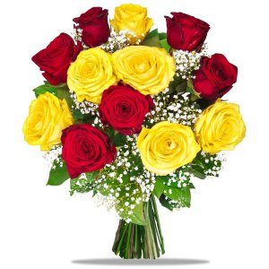 Yellow & Red Roses Bouquet