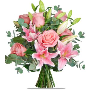 Pink Stargazer Lilies and Roses
